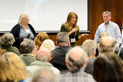 A panel discussion about their new book Inspector Oldfield and the Black Hand Society includes the great-grandson of Inspector Oldfield, William Oldfield, his co-author Victoria Bruce, and Melanie Butera (far left), great-granddaughter of one of the gangsters arrested by Inspector Oldfield