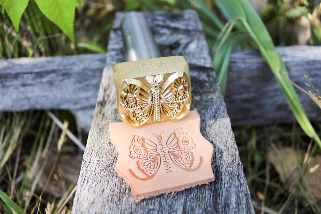 leather stamped butterfly pattern with custom leather stamps by Buckeye Engraving
