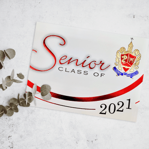 2021 graduation announcement with foil crest and details