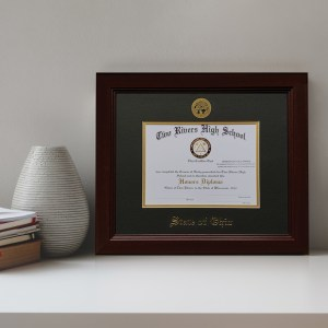 Diploma frame displayed on a shelf