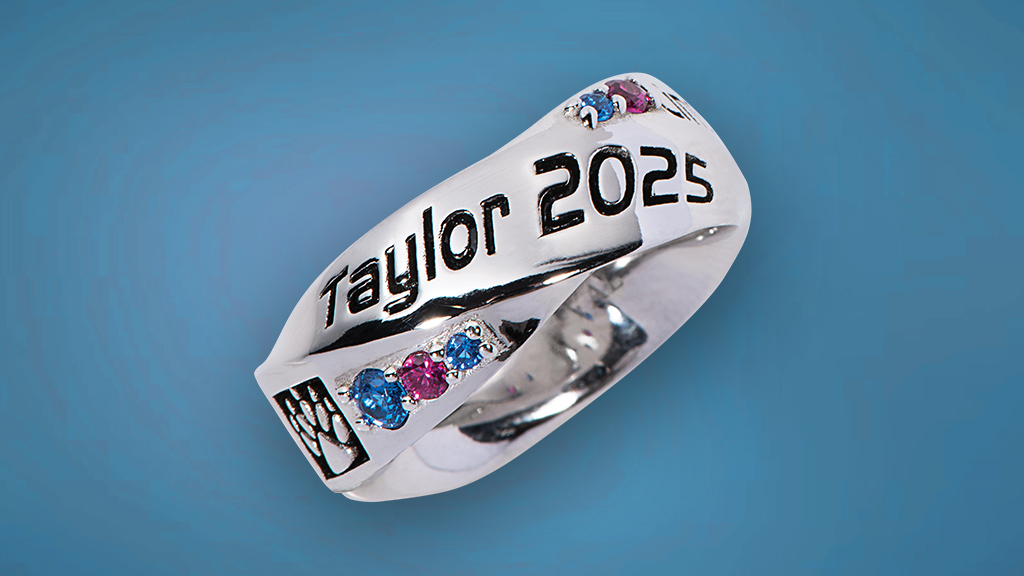Silver Class Ring with Blue Background