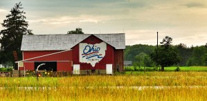 an image of a red barn in a field with the Ohio state banner