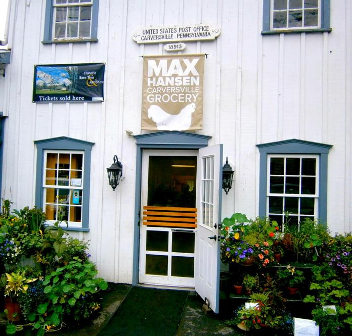 Entrance to Max Hansen Carversville Grocery Store; photo credit L. Goldman