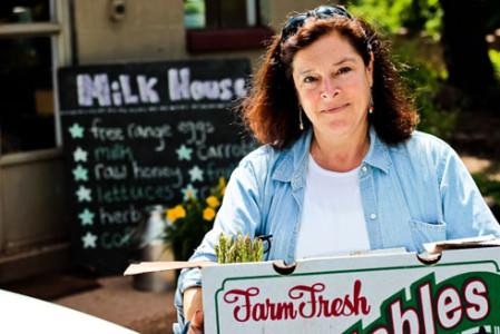 Cathy Snyder at Milk House Farm; photo courtesy of Eli Snyder-Vidmar