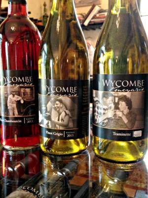 2013 Wycombe Vineyards wine; photo credit Lynne Goldman