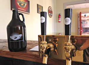 BC Brewery taps & growler; photo credit Lynne Goldman