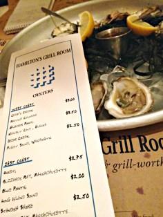 Hamilton's Oyster Menu