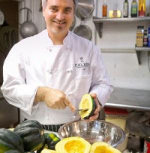 Caleb Lentchner with acorn squash
