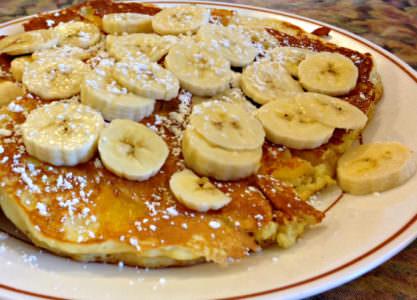 Pancakes with banana_Pat's Colonial Kitchen; photo credit Lynne Goldman