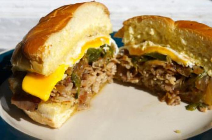 Porchetta breakfast sandwich; photo courtesy of Max Hansen Kitchen