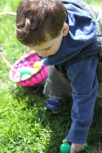 Kid Hunting for Eggs, Shady Brook Farm