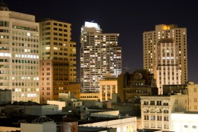 nighttime cityscape from the top of the Sutter Stockton parking structure
