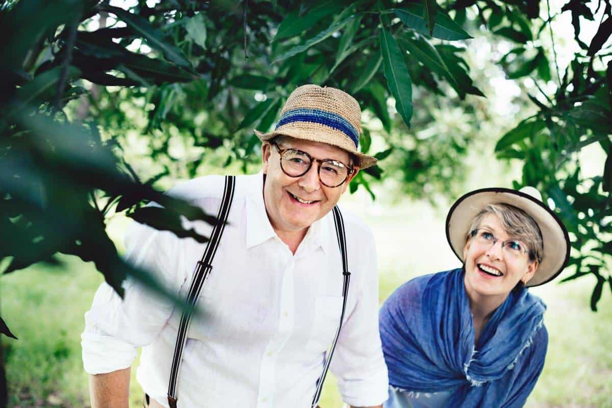 Older Couple wearing eyeglasses while exporing outdoors together