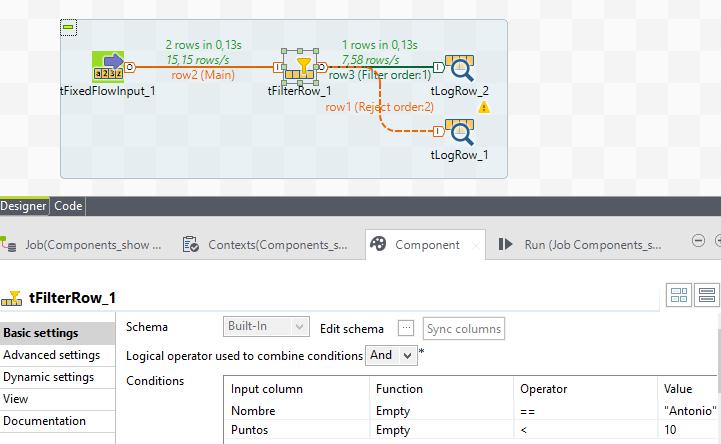 Filter job y configuración