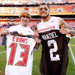 Mike Evans rocks the Manziel Browns jersey at Texas A&M game.