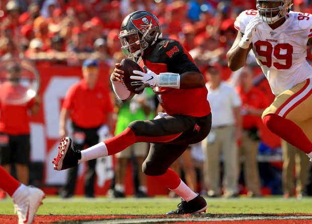 TAMPA, FLORIDA - SEPTEMBER 08: Jameis Winston #3 of the Tampa Bay Buccaneers rushes during a game against the San Francisco 49ers at Raymond James Stadium on September 08, 2019 in Tampa, Florida. (Photo by Mike Ehrmann/Getty Images)