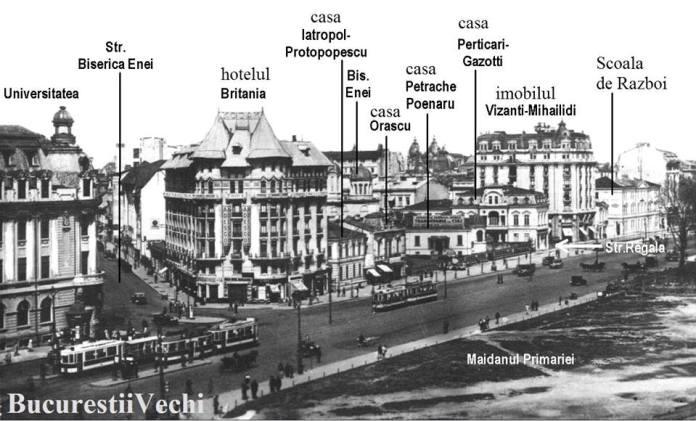 BUCUREȘTI, 1928. Bulevardul și clădirile din vecinătatea Universității.