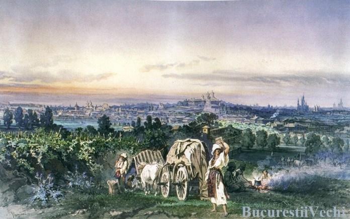 BUCUREȘTI, acum 150 de ani. La cules, pe Dealul Viilor. În fundal, panorama orașului.