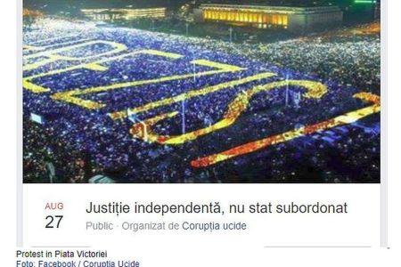 "Protest de amploare anuntat in aceasta seara in Piata Victoriei! ""Justitie independenta, nu stat subordonat!"""