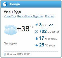 Фактическая погода в Улан-Удэ 6 июля 2015 года по версии Гисметео