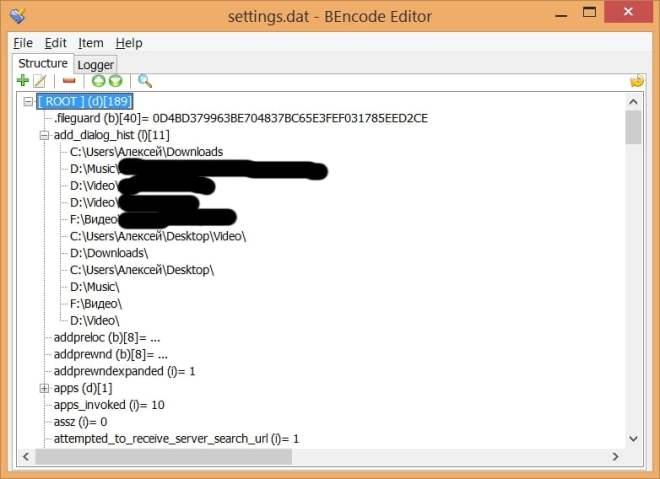 Скриншот открытого uTorrent файла settings.dat в утилите BEncode Editor