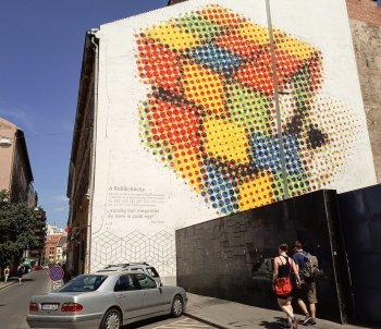 Budapest mural Rubik's Cube