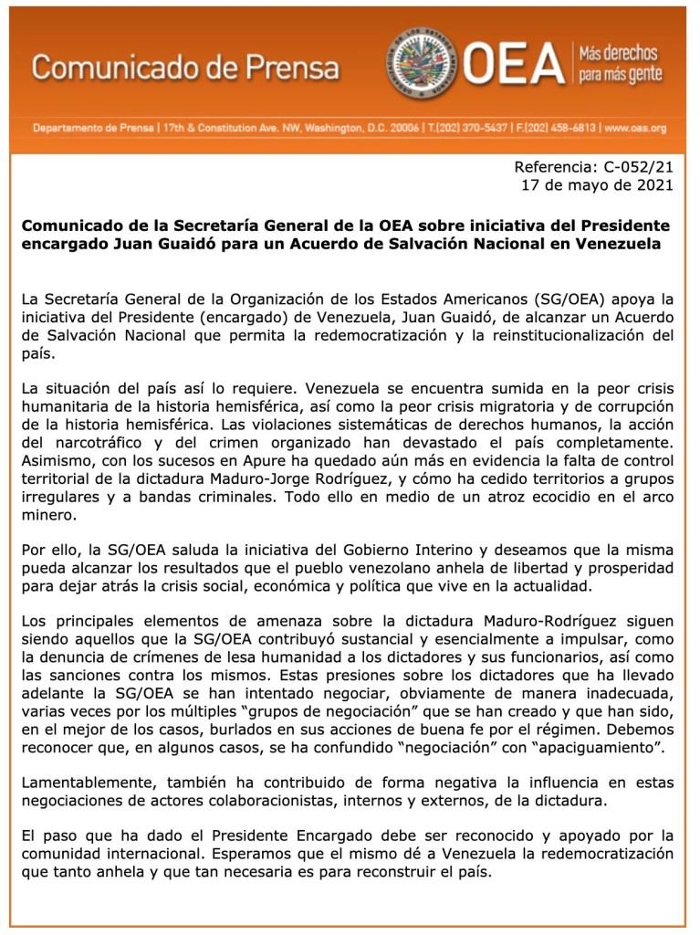 Comunicado de Prensa OEA