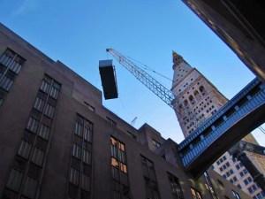 Budco rigging a 60,000 lb. emergency generator in New York City.