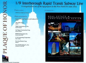 For our work at the 1/9 Interborough Rapid Transit Subway Line Project.