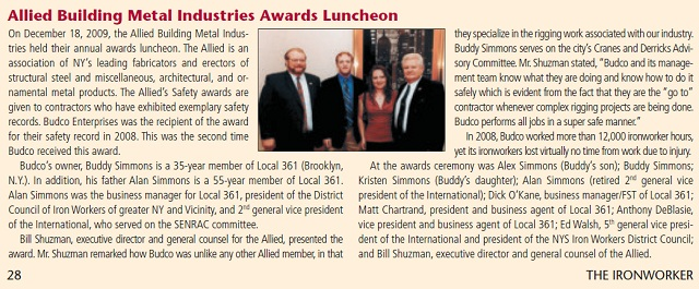 Awarded by Allied Building Metal Industries for Budco's safety record during the 2008 calendar year