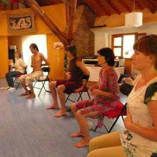 "Anasha sharing Breath of Meditation in 2009 in Spain... during our ""3 Inner Tresures: Freedom from Pain"" advanced ARUN Training"