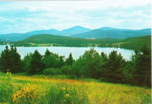 Echo Lake, Vt with Bald Mountain in the distance.