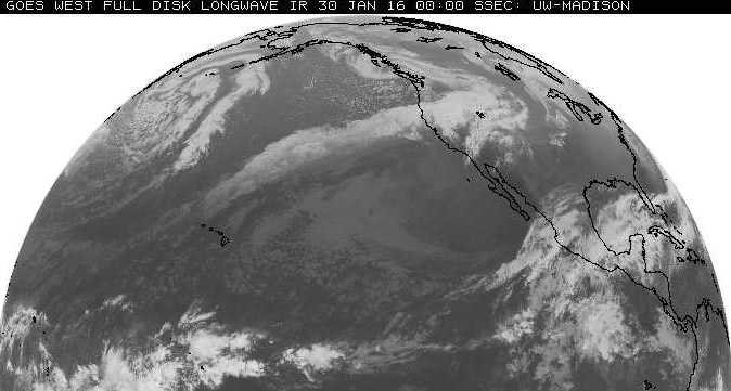 Plume of moisture originating west of Hawaii