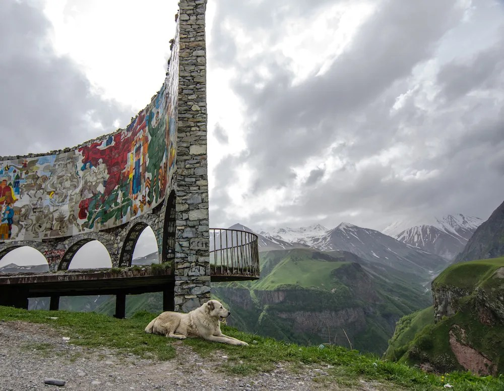 On the drive to Kazbegi, you pass by a pull off point, known as The Monument. I have no clue what it is ... but it's covered in graffiti and there are horses and dogs and I love it.