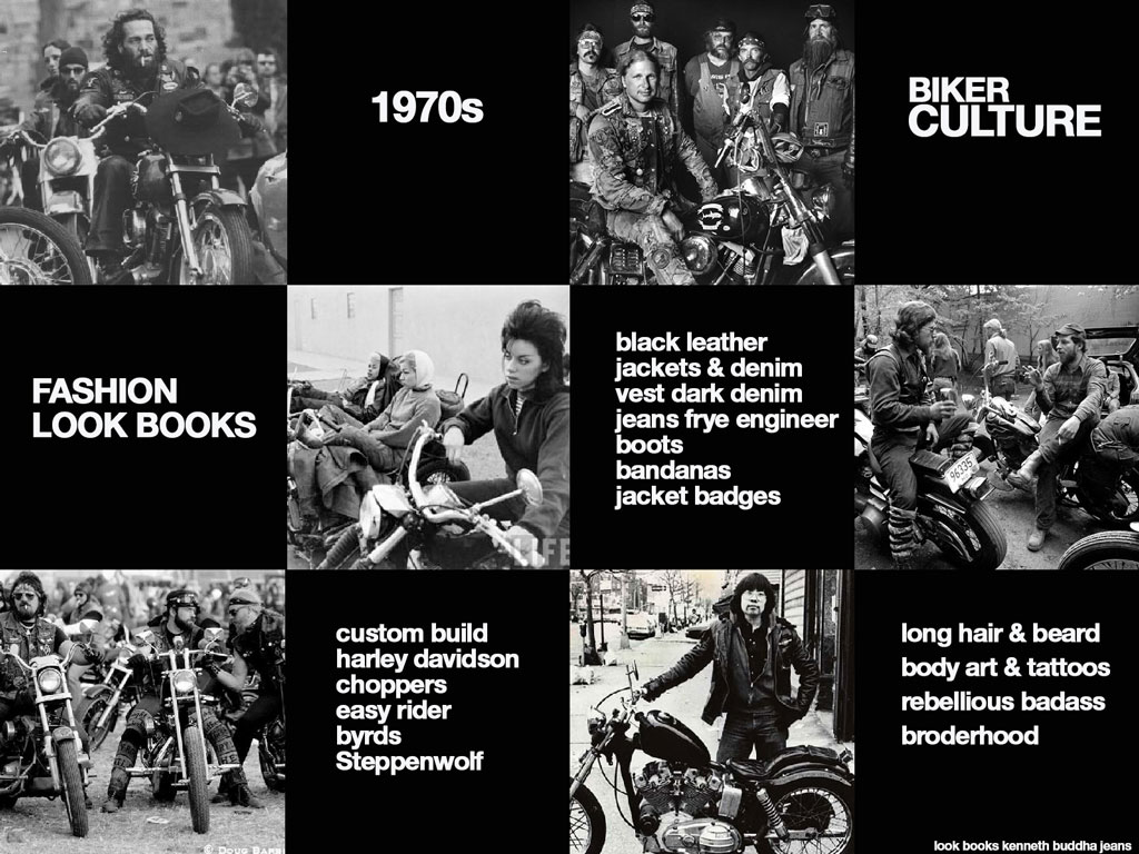 1970s biker culture and fashion look books Kenneth buddha Jeans