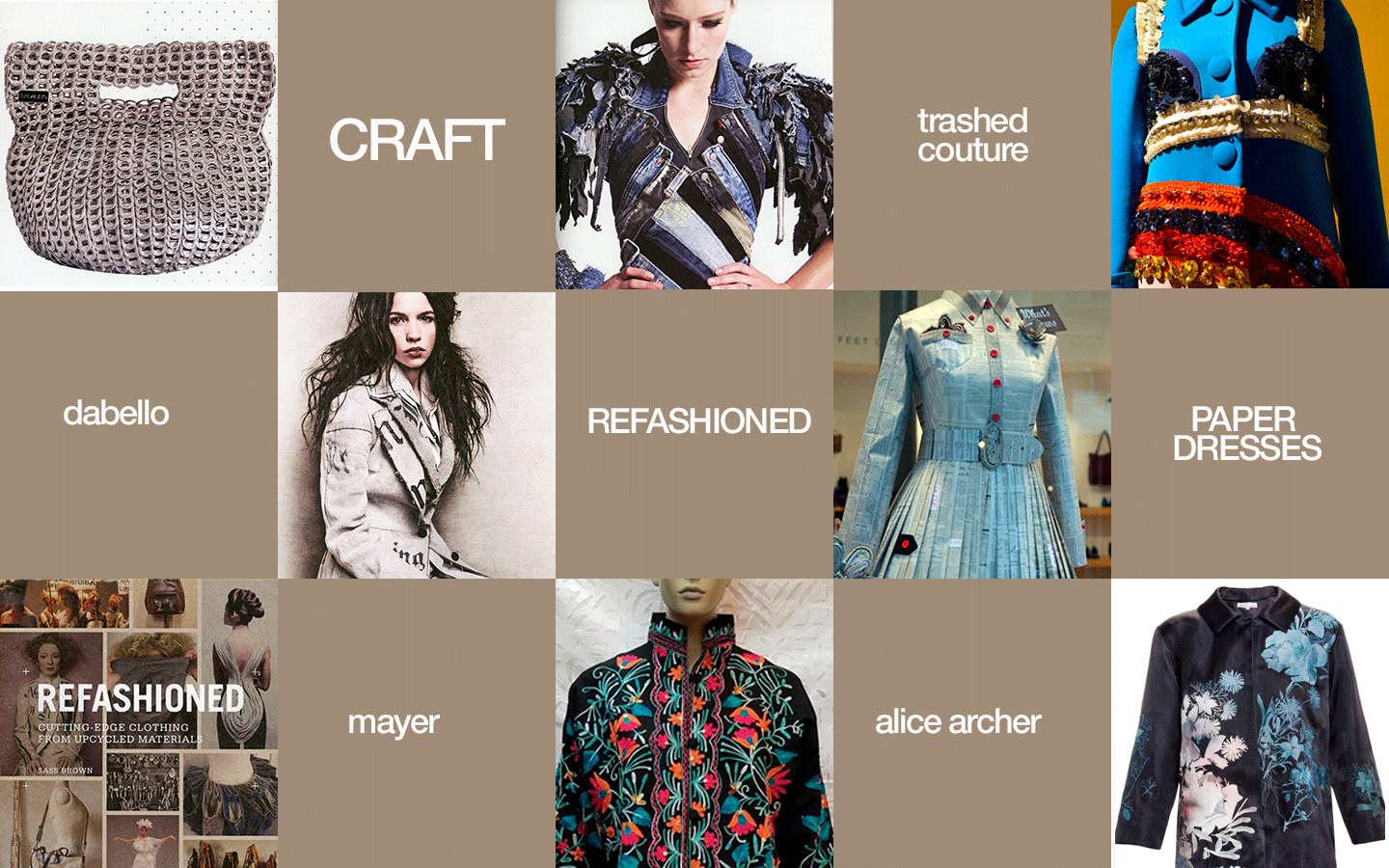 Craft Eco-Fashion Encyclopedia. Image shows work from Dalaleo, Trash-Couture, Mayer, paper dresses, Alice Archer, Refashioned making cutting edge clothing from upcycled material by Sass Brown. Published by Laurence King Publishing 2013. Graphics Kenneth Buddha Jeans