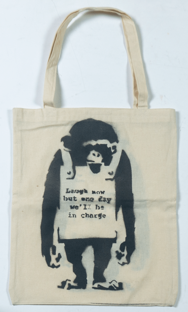 "Organic Eco-Tote Bag Banksy hand-printed art ""One day we are in charge."""