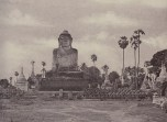 This colossal figure of Gautama represents the most popular Burmese form of the historical Buddha