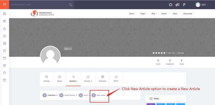 Click New Article option