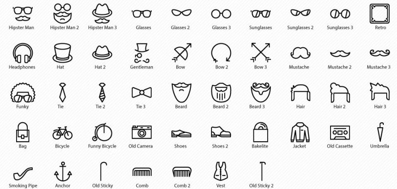 preview - hipster vector icons