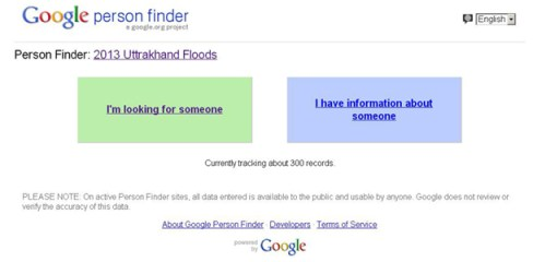 Google Person Finder Uttarakhand Floods