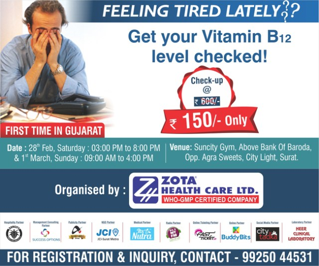 Zota Healthcare to organize Vitamin B12 Check up and Counselling Camp in Surat