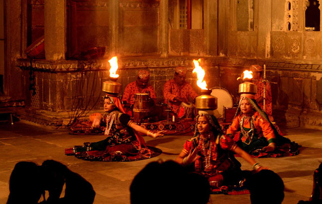 Chari Dance or Firepot Dance - Dharohar Cultural Evening Program at Bagore Ki Haveli Udaipur
