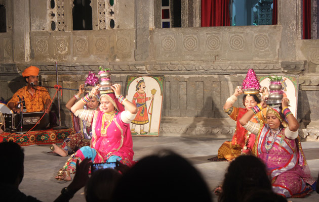 Terha Taal Manjira Knife Dance - Dharohar Cultural Evening Program at Bagore Ki Haveli Udaipur