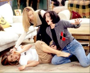 """NBC103 1/9/96 -- """"FRIENDS"""" - 'The One After the Superbowl' Part I and Part II -- TELECAST DATE: Sun., Jan. 28 (10-11p.m. ET) --- PICTURED: Jennifer Aniston, Lisa Kudrow, Courteney Cox --- 'FRIENDS' NO MORE? --- Phoebe (Kudrow) has to mediate between Monica (Cox) and Rachel (Aniston) when a fisticuffs breaks out between the two over who gets a date with hunky movie star Jean-Claude Van Damme (not pictured). -- NBC PHOTO: Joey Del Valle."""