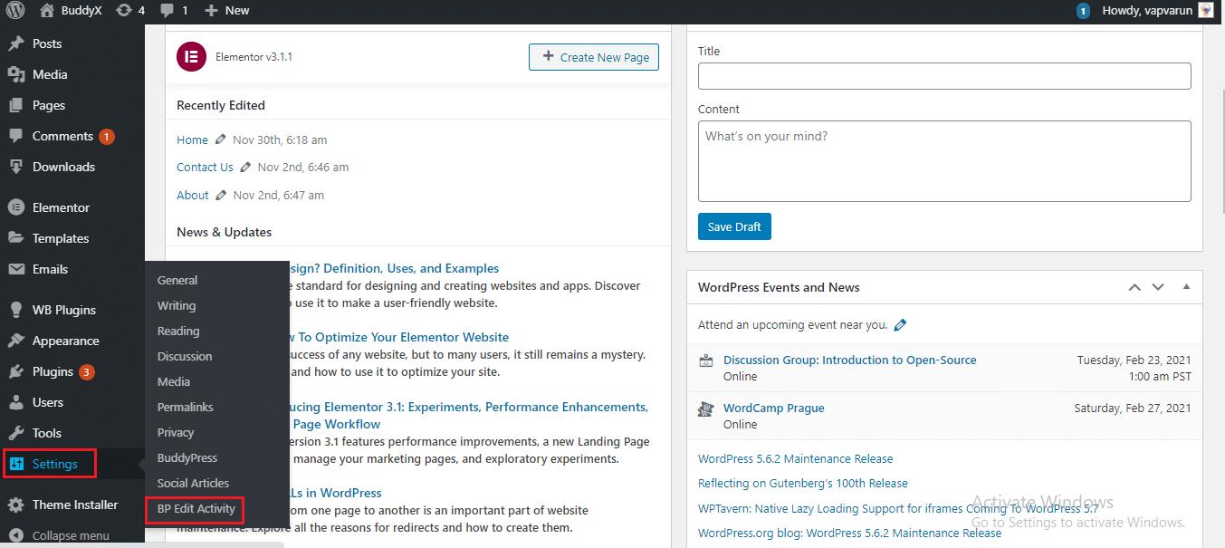 BuddyPress Edit Activity Plugin