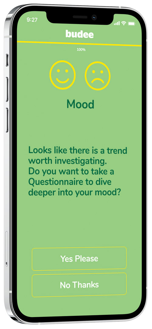 a mobile phone showing a mood assessment question