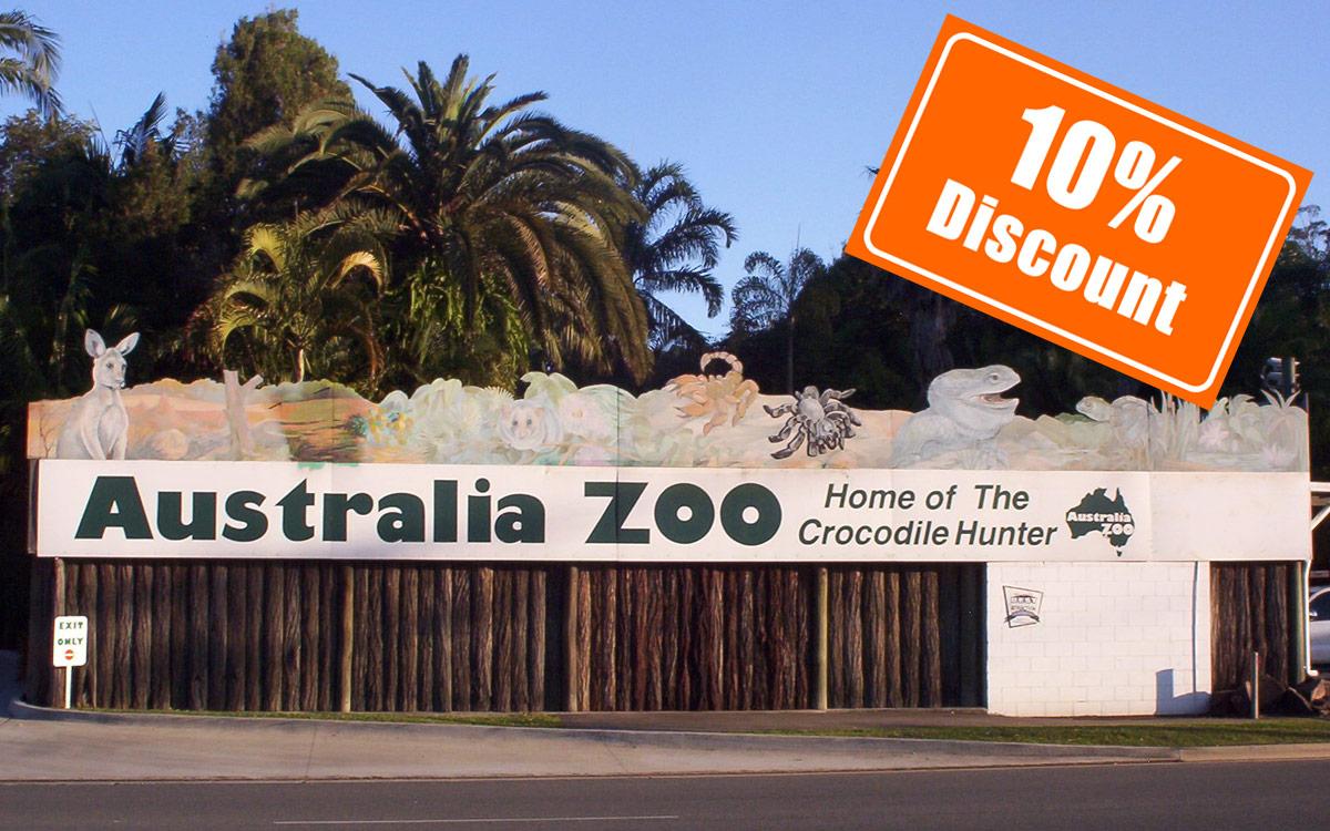ten percent discount to Australia Zoo