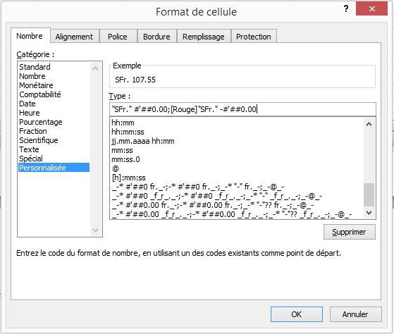 Format cellule Excel pour solde budget