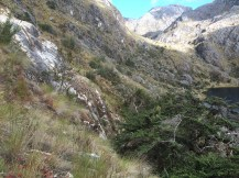 The steep rocky hillside of the third laguna